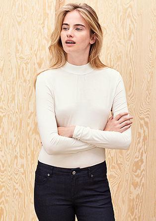 Viskose-Shirt mit Stehkragen