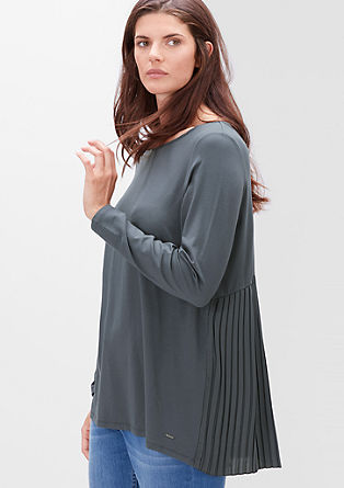 Viskozna majica s plisiranim hrbtom