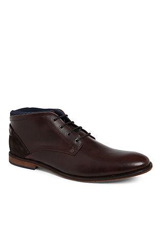 Visoki čevlji z vezalkami iz gladkega usnja