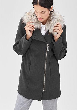 Vlněná bunda s kapucí s lemem z imitace kožešiny