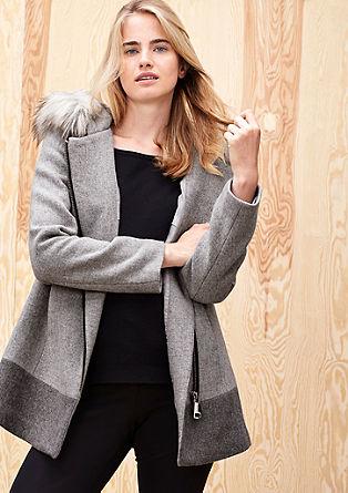 Vlněný kabát s imitací kožešiny