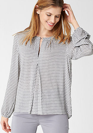 Vokuhila-Bluse mit Muster-Print