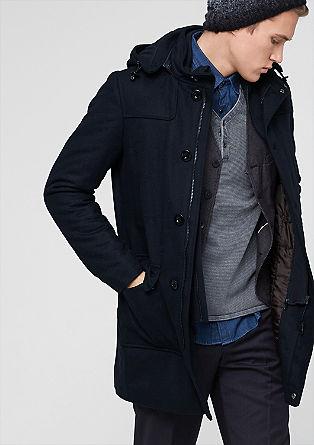 Volnen plašč s kapuco