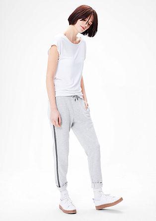 Volnočasové kalhoty se třpytivými pruhy