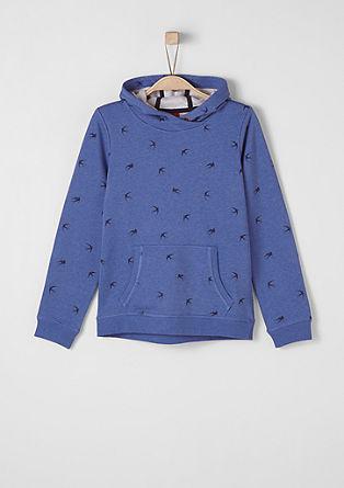 Vzorčast pulover s kapuco
