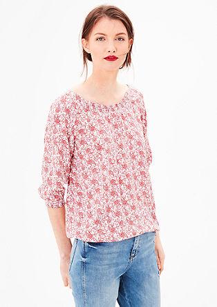 Vzorčasta bluza z odprtimi rameni