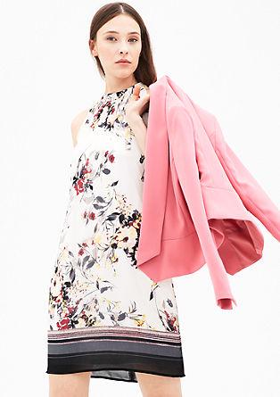 Vzorčasta obleka z odprtimi rameni