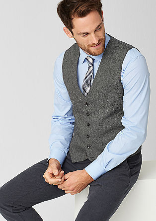 Waistcoat with a woven texture from s.Oliver