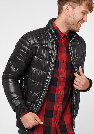 Warm quilted jacket with a stand-up collar from s.Oliver