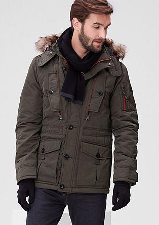 Warme winterjas met contrasten
