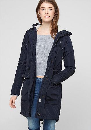 Warmer Mantel mit Teddyfell-Kapuze