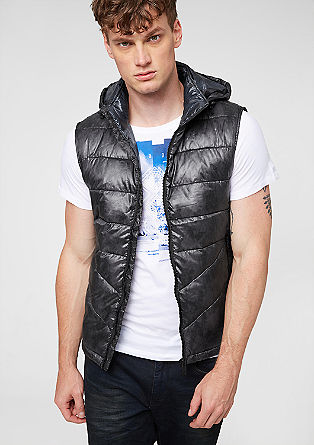 Warming quilted body warmer with a hood from s.Oliver