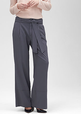 Wide cloth trousers with a tie-around belt from s.Oliver