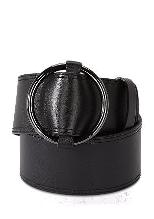 Wide leather belt with a round buckle from s.Oliver