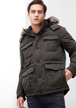 Winterjacke mit Fake-Fur-Blende