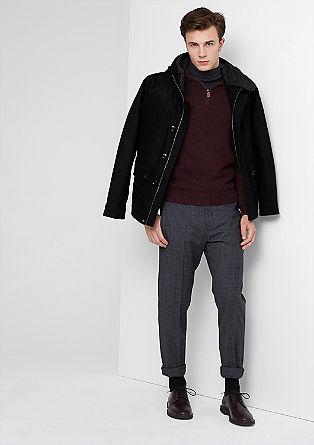 Wollen jas met een laagjeslook