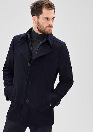 Wollen jas met ritsinzet