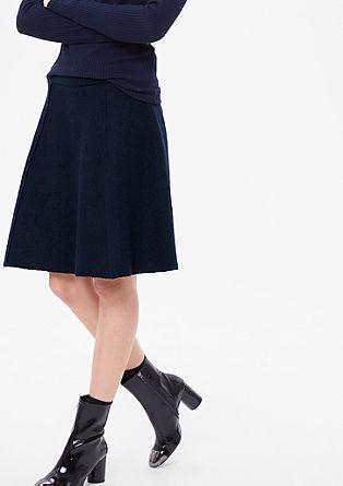 Wollen rok met geribde band