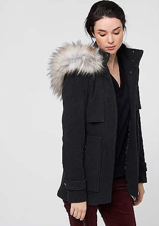 Wolljacke mit Fake Fur-Detail