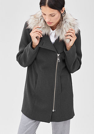 Wolljacke mit Fake Fur-Kragen
