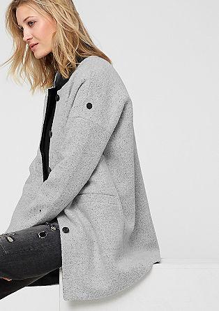 Wollmantel mit Leder-Look-Details