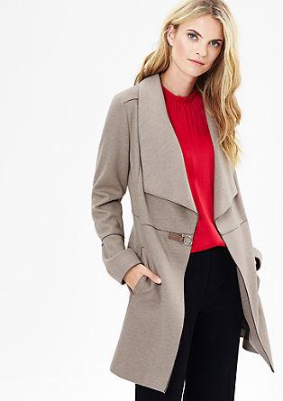 Wollmantel mit Leder-Look-Schließe