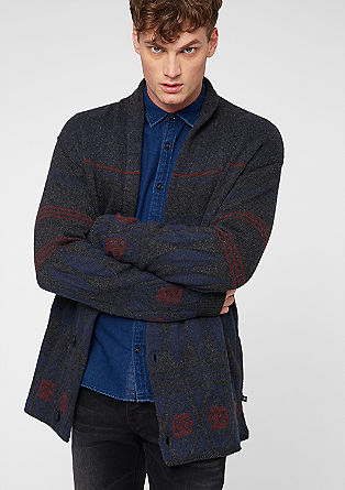 Wool cardigan with jacquard from s.Oliver