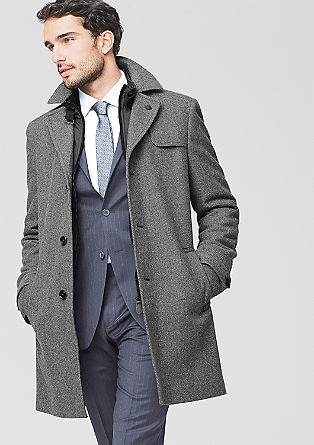 Wool coat with a herringbone pattern from s.Oliver