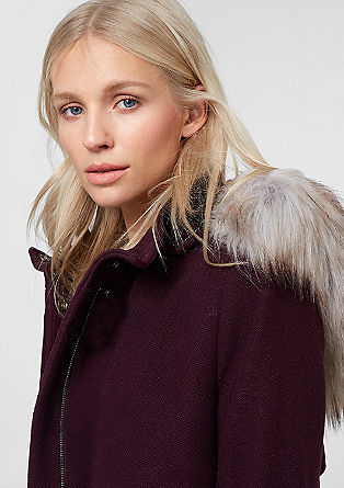 Wool jacket with fake fur detail from s.Oliver