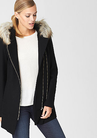 Wool jacket with fake fur hood from s.Oliver
