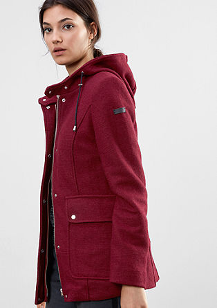 Wool parka with a ribbed texture from s.Oliver