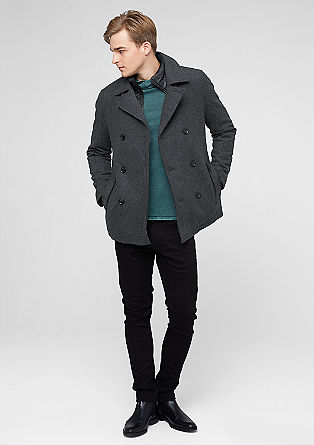 Wool pea coat with quilted lining from s.Oliver