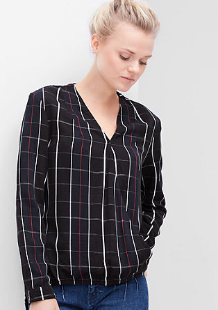 Wrap-effect check blouse from s.Oliver