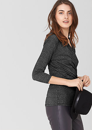 Wrap-effect glitter top from s.Oliver