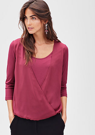 Wrap top with a blouse detail from s.Oliver