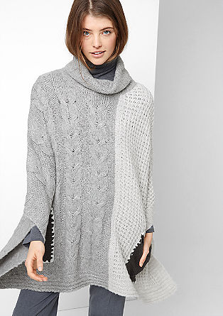 XXL textured knit poncho from s.Oliver