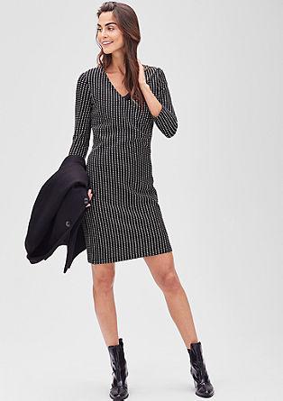 Žakardska obleka v črno-beli kombinaciji