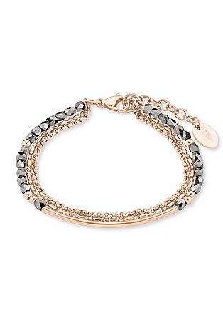 Zapestnica iz rožnatega zlata s steklenimi kroglicami
