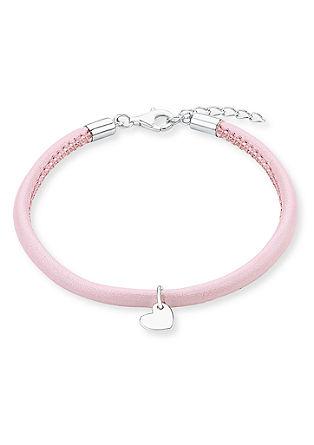 Zapestnica iz usnja rožnate barve