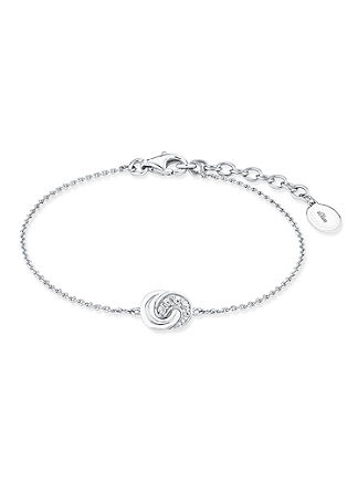 Zilveren armband knoop met zirkonen