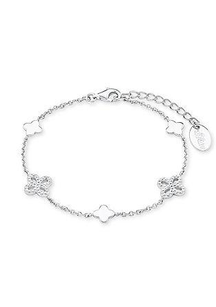Zilveren armband met zirkonia-bloemen