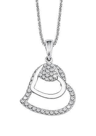 Zilveren halsketting met fonkelende hanger.