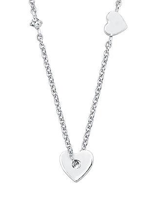 Zilveren ketting hart met zirkonen