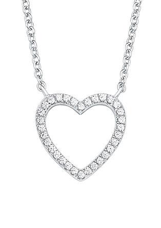 Zilveren ketting hart met zirkonia