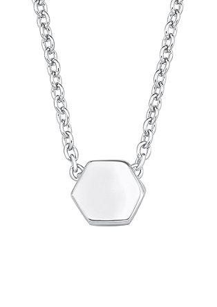 Zilveren ketting hexagon