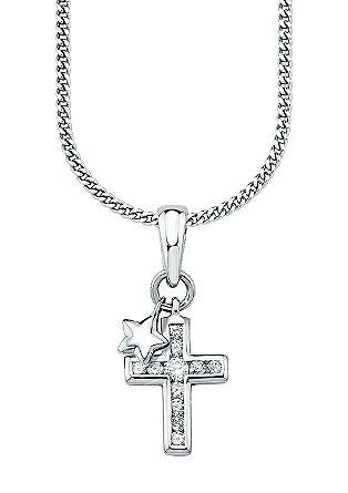 Zilveren ketting met fonkelend kruisje