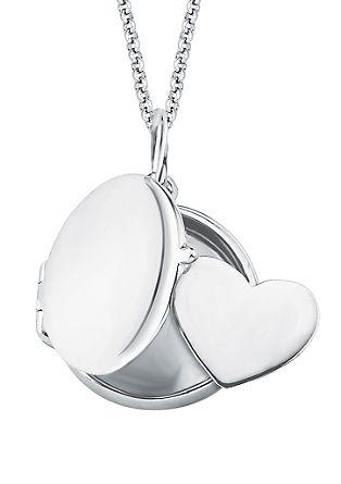 Zilveren ketting met medaillon en hart