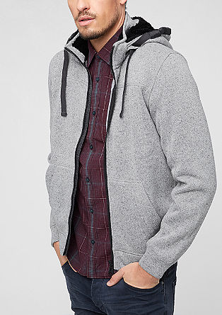 Zip-up hoodie in a knitted look from s.Oliver