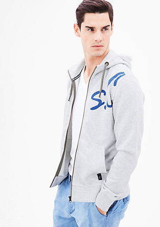 Zip-up sweatshirt with label print from s.Oliver