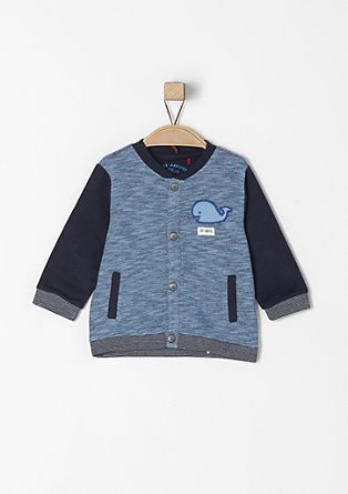 Zip-up sweatshirt with whale appliqué from s.Oliver